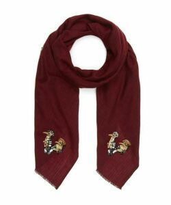 Embellished Birds Wool Scarf