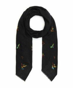 Embellished Birds Wool Scarf