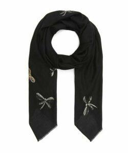 Embellished Dragonflies Cashmere Scarf