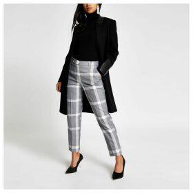 River Island Womens Petite Grey check cigarette trousers