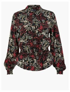 M&S Collection Leaf Print Waisted Blouse
