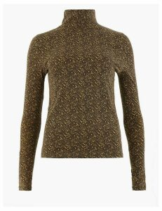 M&S Collection Cotton Rich Animal Print Long Sleeve Top