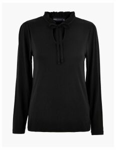 M&S Collection Tie Neck Long Sleeve Top