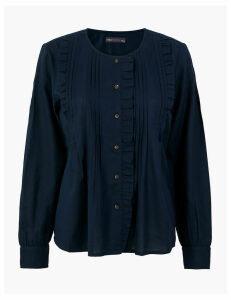 M&S Collection Pure Cotton Pintuck Pioneer Blouse