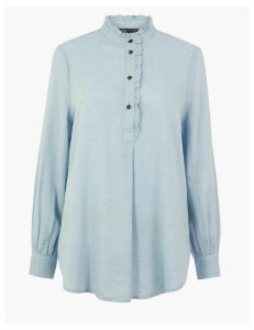 M&S Collection Cotton Rich Ruffled Longline Blouse