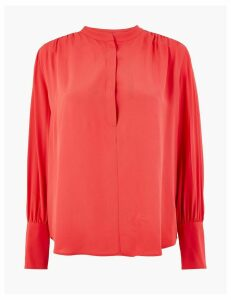 Autograph Crepe High Neck Blouse