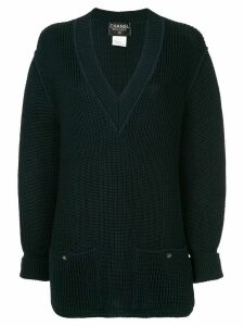 Chanel Pre-Owned long sleeve sweater knitted cotton knit - Blue
