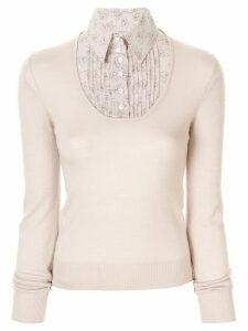 Chanel Pre-Owned long-sleeve knit hybrid top - Pink