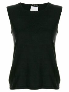 Chanel Pre-Owned stitched interlocking CC logo tank - Black