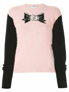 Chanel Pre-Owned 1995 cashmere intarsia CC ribbon jumper - PINK