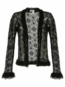 Chanel Pre-Owned floral macrame open cardigan - Black