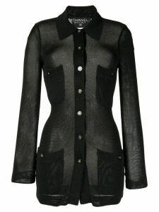 Chanel Pre-Owned 1995 sheer knitted cardigan - Black