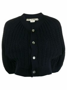 Comme Des Garçons Pre-Owned cropped ribbed cardigan - Dark Blue