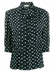 Nina Ricci Pre-Owned 1980s polka dotted pussy bow blouse - Blue