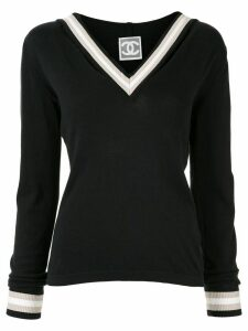 Chanel Pre-Owned contrast trim jumper - Black
