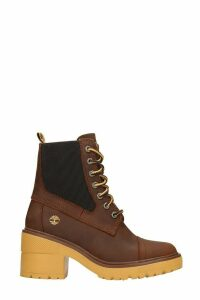 Timberland Blossom Mid High Heels Ankle Boots In Brown Leather