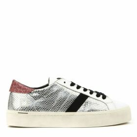D.A.T.E. Hill Double Roof Sneakers In Silver Laminated Leather