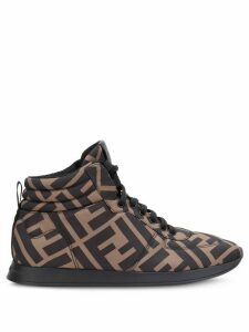 Fendi monogram high-top sneakers - Brown