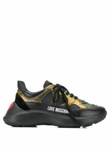Love Moschino logo contrast low-top sneakers - Black