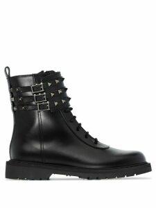Valentino Valentino Garavani Rockstud flat combat boots - Black