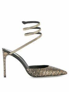 René Caovilla snake-anklet pumps - Metallic