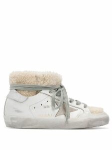 Golden Goose Superstar shearling embellished sneakers - White