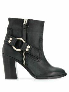 Diesel buckle-detail ankle boots - Black