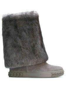 Casadei mink fur Chaucer boots - Grey