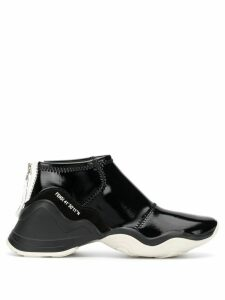 Fendi glossy high-top sneakers - Black