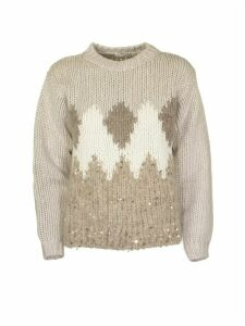 Brunello Cucinelli Crewneck Sweater In Virgin Wool, Cashmere And Silk Sweater