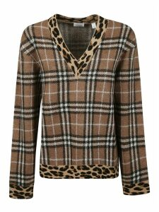 Burberry Checked V-neck Sweater