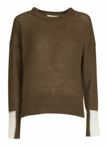Essentiel Khaki Green Light Knit Sweater With Contrasting Cuffs