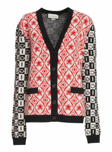 Gucci Checkerboard Jacquard Wool Cardigan