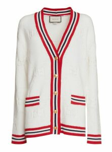 Gucci Long Knit Cardigan With Gg Motif