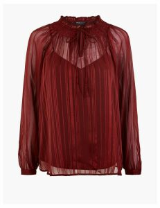 M&S Collection Glittery Striped Smock Blouse