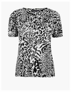 M&S Collection Animal Print Relaxed Fit T-Shirt