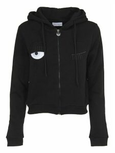 Chiara Ferragni Black Hoody With flirting Embroidery