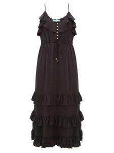Melissa Odabash - Bethan Tiered-ruffled Midi Dress - Womens - Black