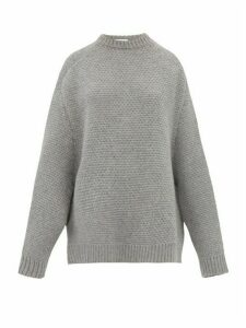 Raey - Crew Neck Basketweave Wool Sweater - Womens - Grey Marl
