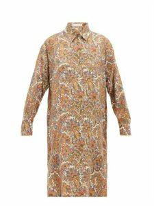 Etro - Cactus Paisley-print Wool-blend Shirtdress - Womens - Brown Multi