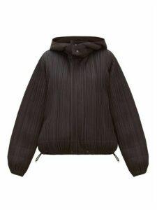 Pleats Please Issey Miyake - Reversible Hooded Plissé Jacket - Womens - Black