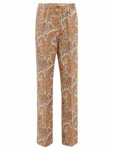 Etro - Paisley-print Wool-blend Twill Wide-leg Trousers - Womens - Brown Multi