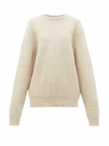 Raey - Contrast-panel Chunky-knit Wool Sweater - Womens - Beige