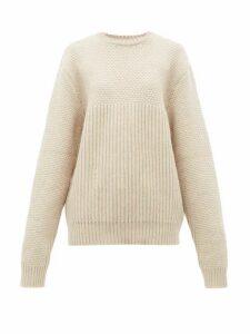 Raey - Contrast-panel Chunky-knit Wool Sweater - Womens - Beige