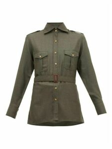 Giuliva Heritage Collection - The Aurora Silk-blend Twill Shirt - Womens - Dark Green
