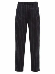 Giuliva Heritage Collection - The Cornelia Pinstriped Wool Trousers - Womens - Navy Stripe