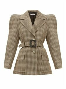 Givenchy - Belted Single-breasted Checked-wool Jacket - Womens - Beige Multi