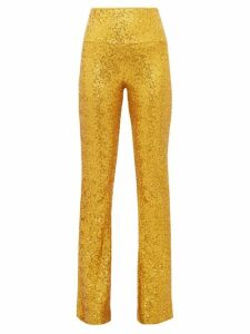 Norma Kamali - High-rise Sequinned Kick-flare Trousers - Womens - Gold
