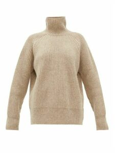 Ami - High-neck Ribbed Wool Sweater - Womens - Beige