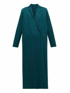Pleats Please Issey Miyake - Double-breasted Plissé Coat - Womens - Green